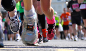Marathon Runners close up legs and shoes